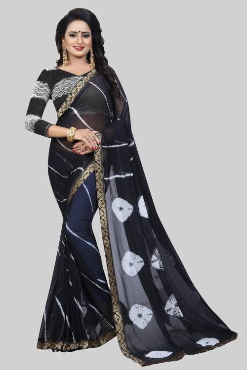 Black Chiffon Solid Saree With Unstitched Blouse Material