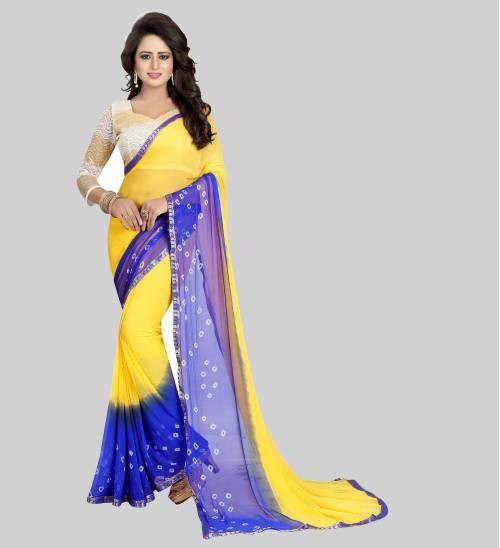 Yellow Chiffon Printed Saree With Unstitched Blouse Material
