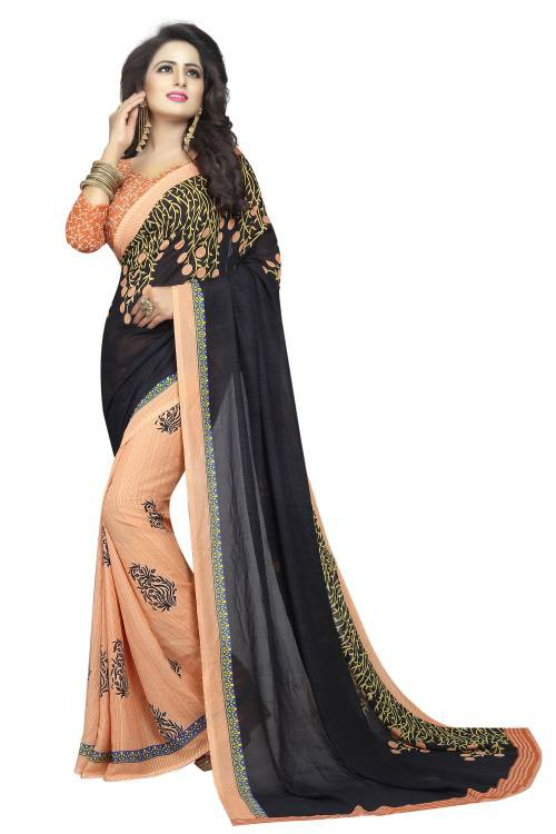 Black Georgette Printed Saree With Blouse Piece