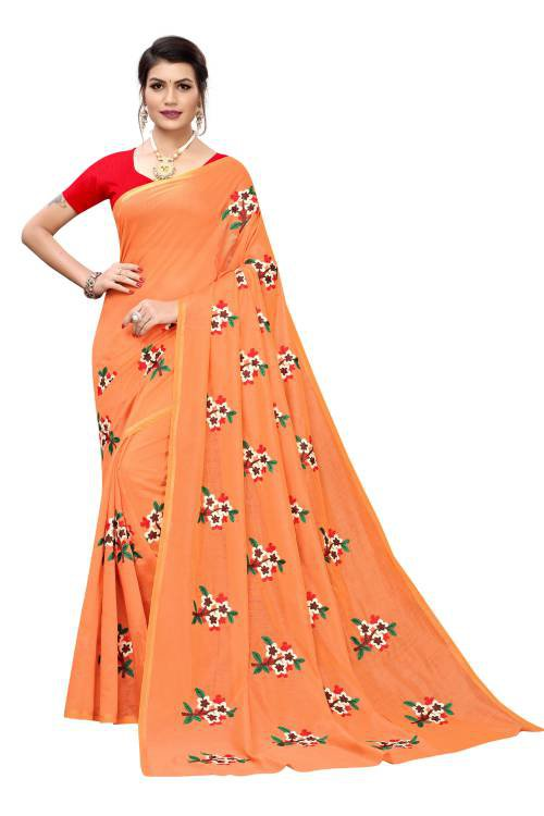 Orange And Red Printed Chanderi Cotton Saree With Blouse Piece