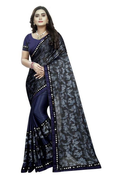 Navy Blue Printed Lycra Blend Saree With Blouse Piece