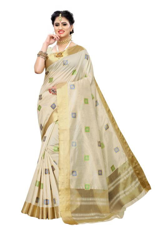 Golden White Printed Cotton Polyester Silk Saree With Blouse Piece