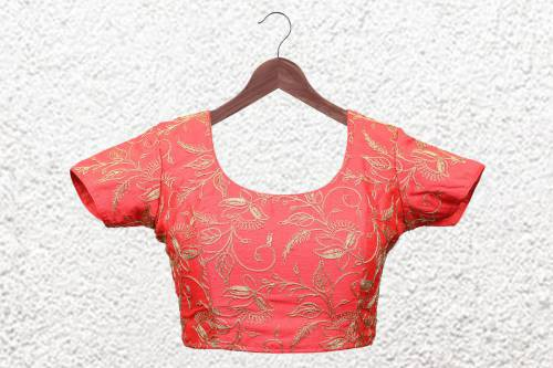 Multicolor Polyester Embroidered  Designer Readymade Blouse
