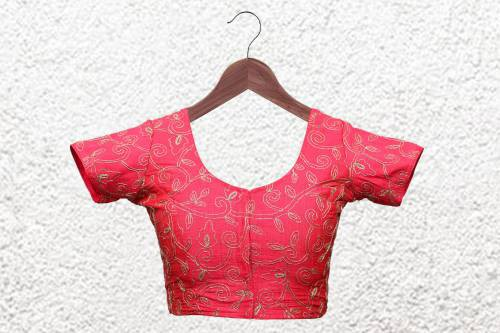Pink Polyester Embroidered  Designer Readymade Blouse