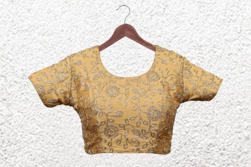 Gold Polyester Embroidered  Designer Readymade Blouse