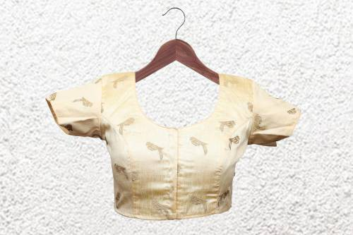 Beige Polyester Embroidered  Designer Readymade Blouse