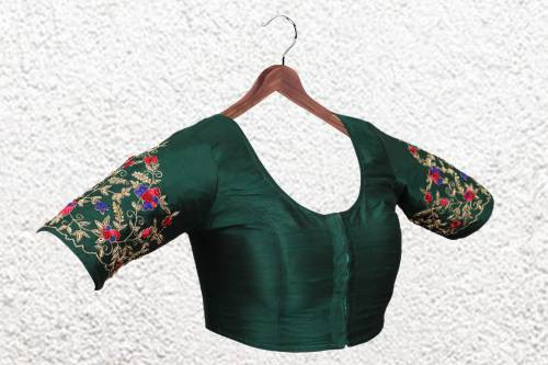 Green Raw Silk Zardosi Work Designer Readymade Blouse