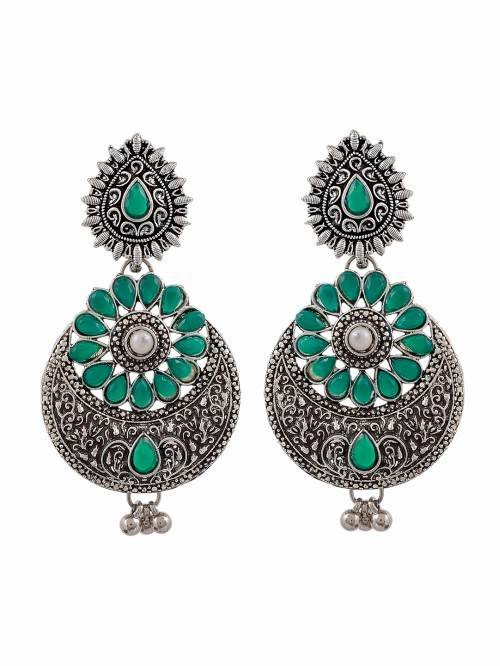 Fashion Jewellery Statement Antique Wear Party Wear Green Stone Earrings