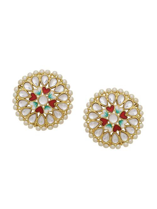Kundan Meena Pearl Design Party Wear Festive Season Stud Earrings
