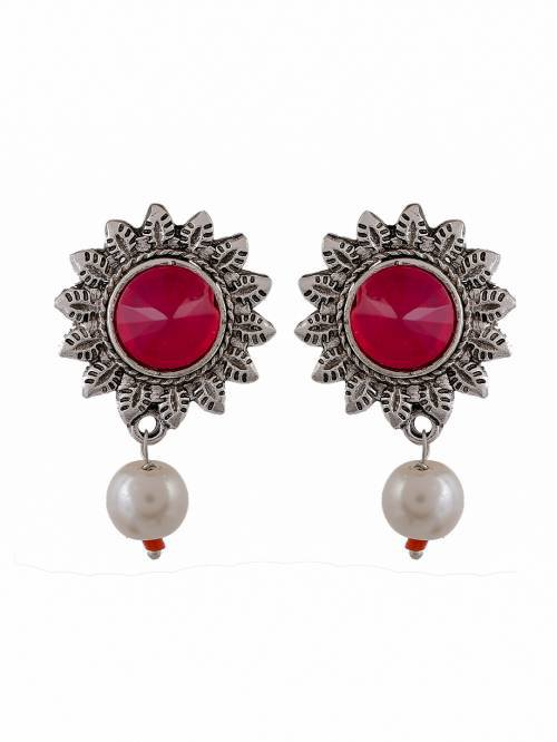 Red Stone Oxidised Jewellery Party Wear Designer Pearl Drop Earrings