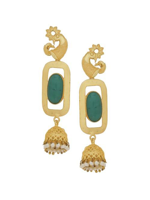 Peacock Style 18k Gold Plated Green Stone Designer Traditional Earrings
