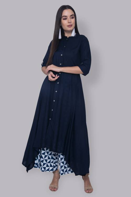 Navy Rayon Plain Calf Length Front Slit Kurti