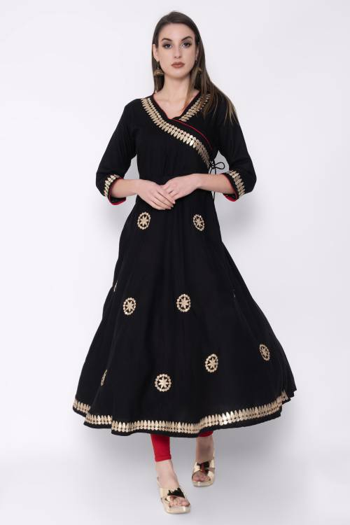 Black Rayon Embroidered Calf Length Angrakha Kurti