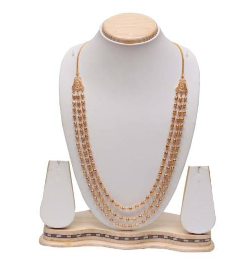 Yellow Gold Finish Copper Traditional Kundan Necklace Set