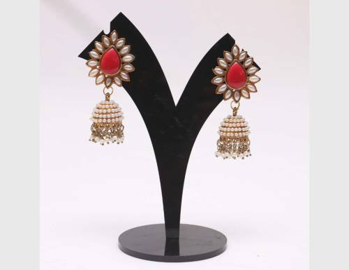 Red Stone Studded Pearl Jhumki Earrings