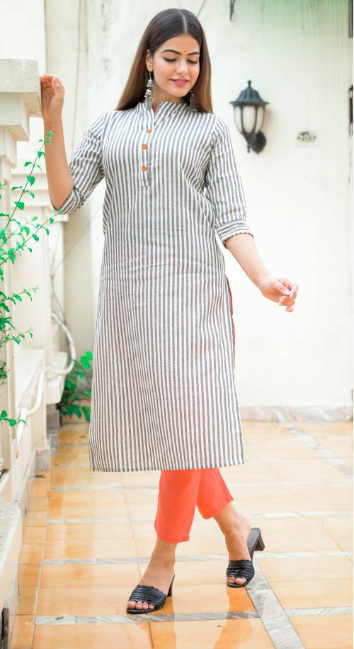 Grey Cotton Blend Striped Calf Length Kurti