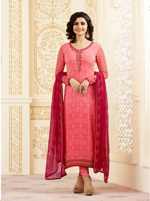 Peach Georgette Embroidered Designer Straight Suit