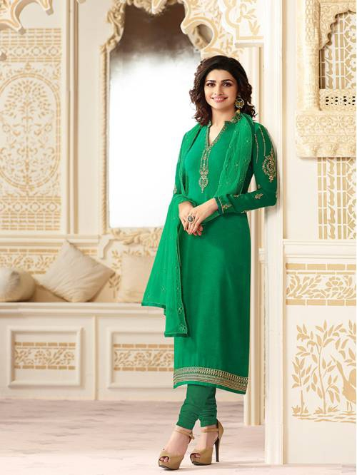 Green Georgette Embroidered Designer Straight Suit
