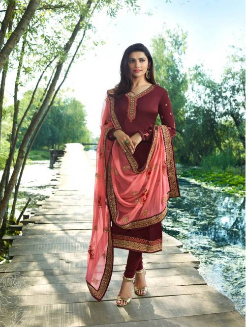 Maroon Georgette Embroidered Designer Straight Suit