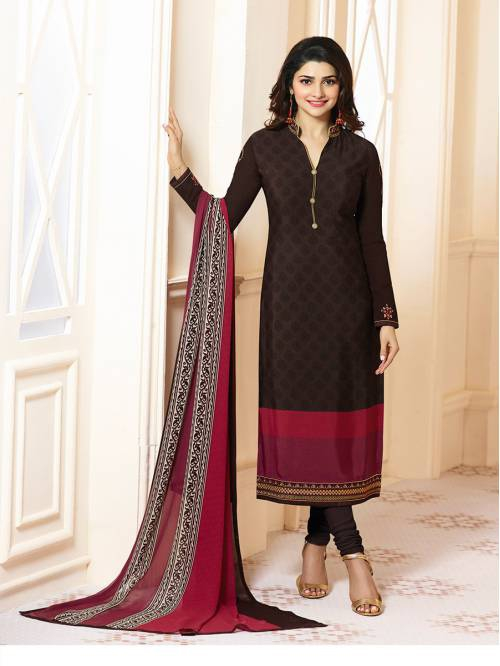 Brown Crepe Silk Embroidered Designer Straight Suit