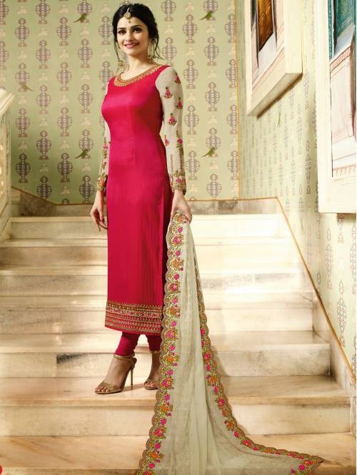 Pink Silk Blend Embroidered Designer Straight Suit