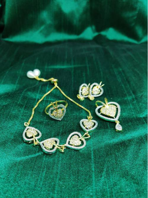 M Creation American Diamond Combo Of Gold Plated Set With Earring Ring And Bracelet