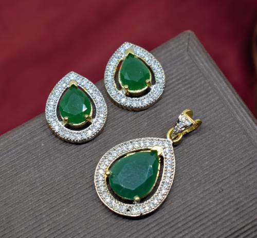 M Creation American Diamond Green Colored Pendant Set