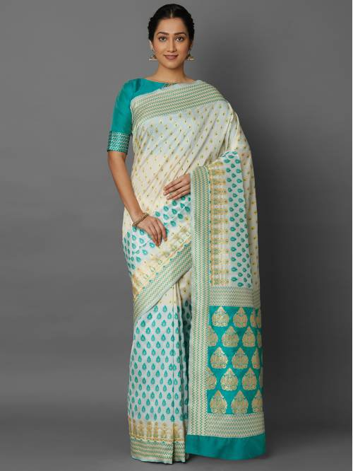 Off White Kanjivaram Silk Jacquard Saree With Unstitched Blouse Material