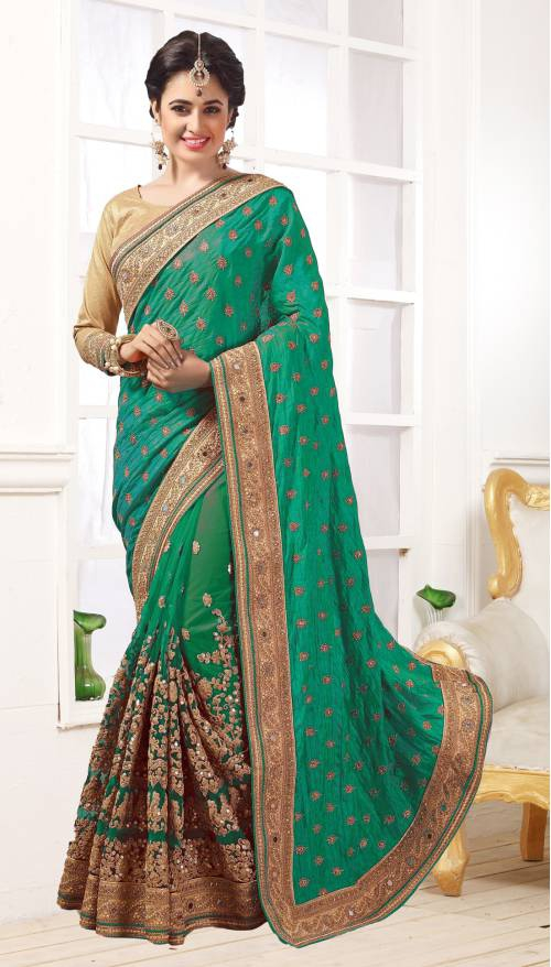 Green Georgette Resham Embroidered Saree With Unstitched Blouse Material