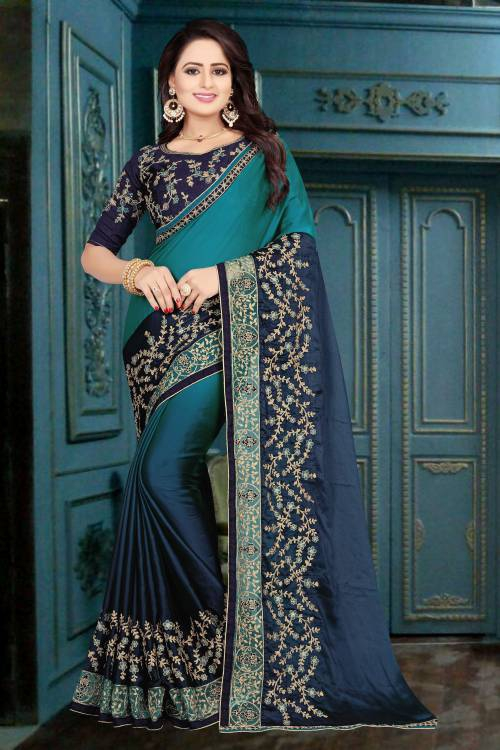 Multicolor Georgette Resham Embroidered Saree With Unstitched Blouse Material