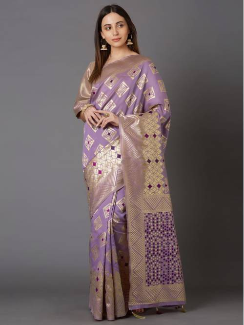 Indianefashion Purple Kanjivaram Silk Blend Woven Saree With Blouse Piece