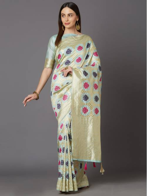 Indianefashion Sea Kanjivaram Silk Blend Woven Saree With Blouse Piece