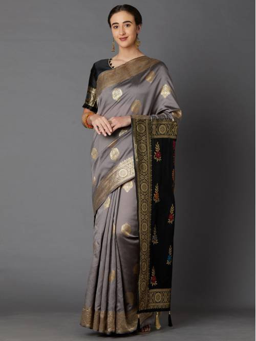 Indianefashion Grey Kanjivaram Silk Blend Woven Saree With Blouse Piece