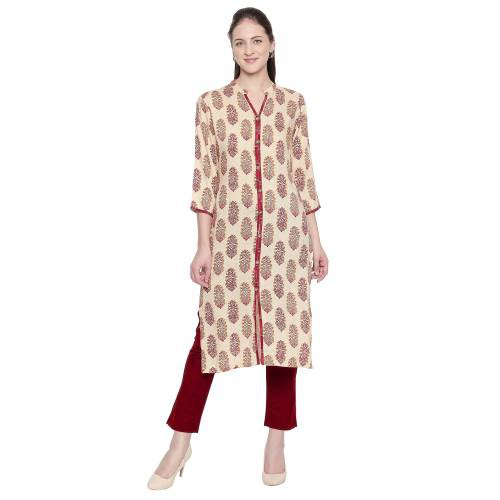 Off White Rayon Printed Straight Kurti