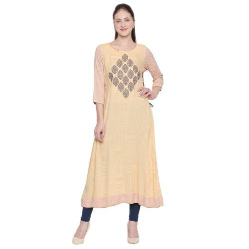 Yellow Rayon Embroidered A Line Style Kurti