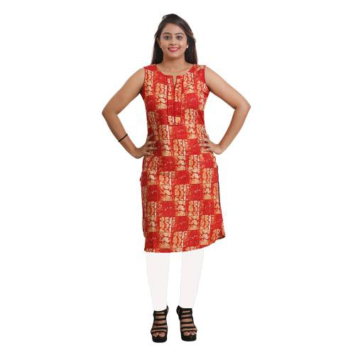 Orange Rayon Printed Straight Kurti