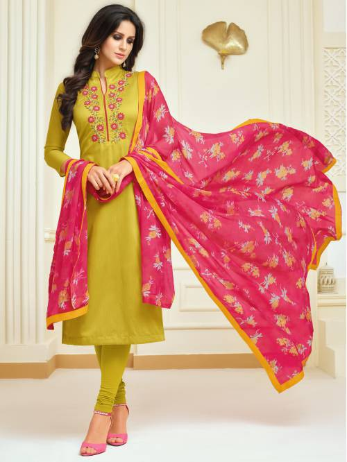 Yellow Chanderi Silk Designer Dori Embroidered Unstitched Straight Suit