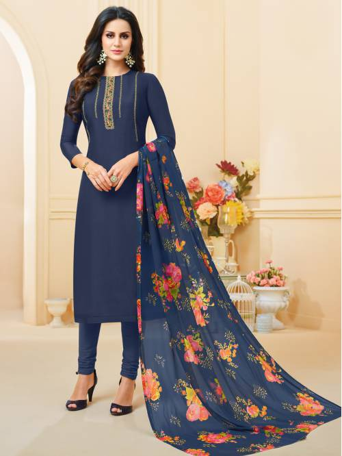 Blue Chanderi Silk Designer Dori Embroidered Unstitched Straight Suit