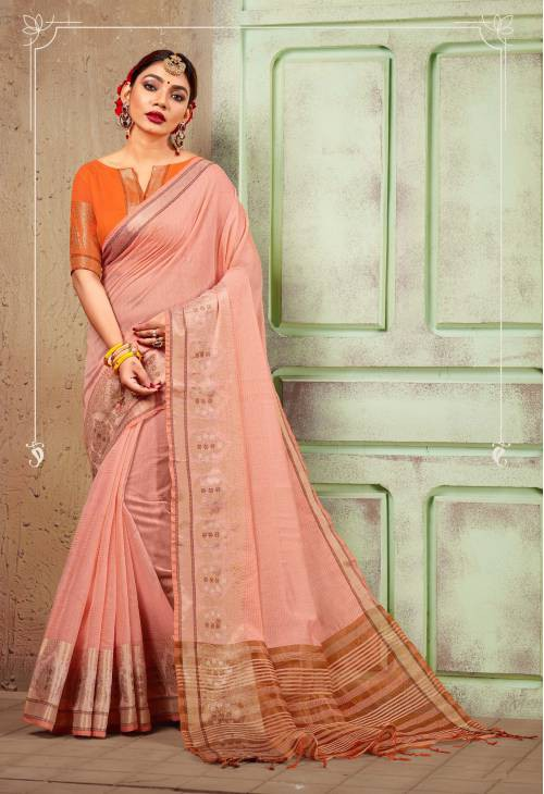 Peach Chanderi Cotton Traditional Printed Saree With Unstitched Blouse Material