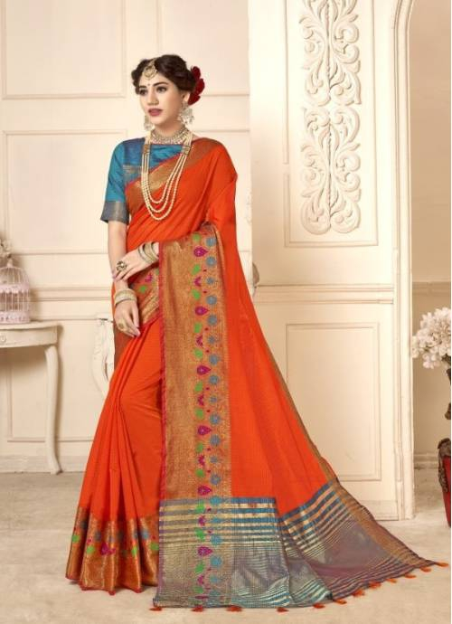 Orange Cotton Traditional Woven Saree With Unstitched Blouse Material