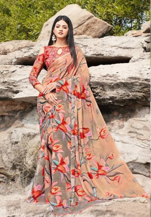 Multicolour  Chiffon Traditional Printed Saree With Unstitched Blouse Material