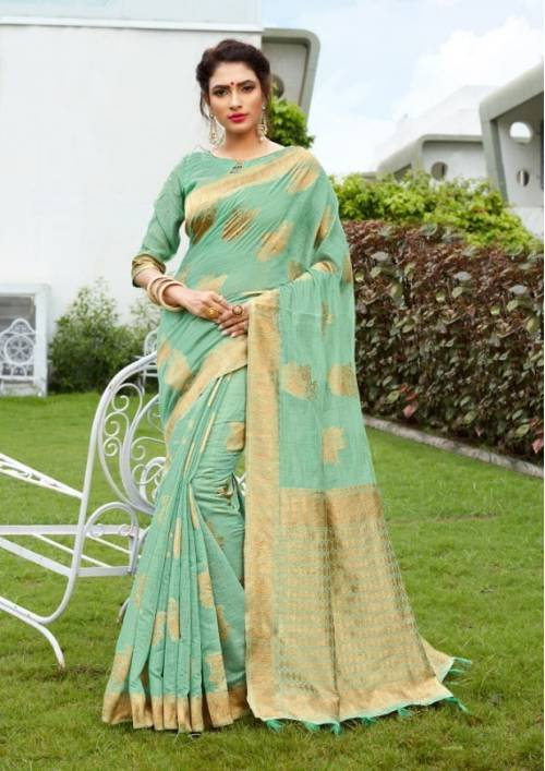 Sea Green Cotton Silk Traditional Woven Saree With Unstitched Blouse Material