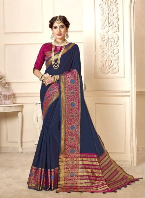 Blue Cotton Traditional Woven Saree With Unstitched Blouse Material