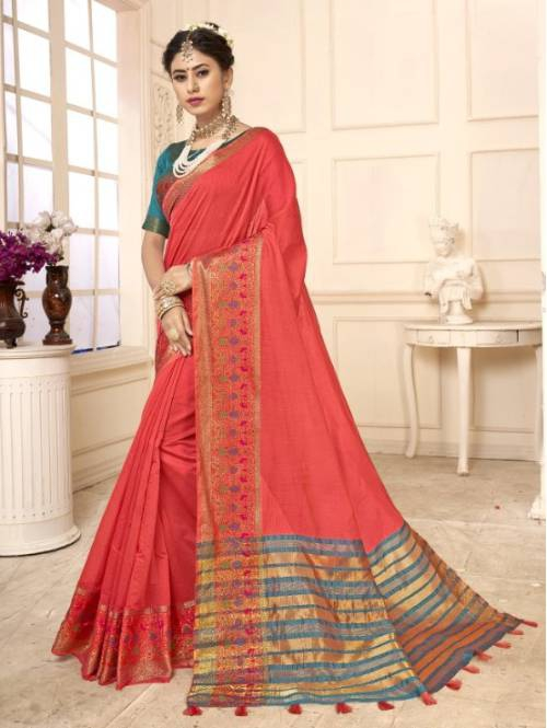 Peach Cotton Traditional Woven Saree With Unstitched Blouse Material