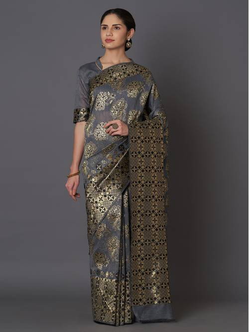 Grey Jacquard Woven Saree With Unstitched Blouse Material
