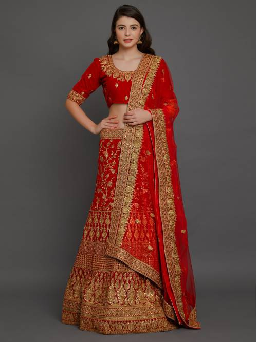 Red Velvet Embellished Designer Semi-stitched Lehenga Choli
