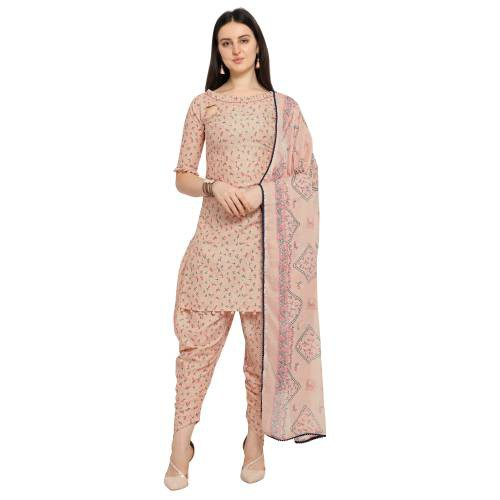Shavya Peach Cotton Blend Floral Printed Unstitched Dress Material