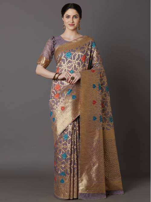 Purple Jacquard Woven Saree With Unstitched Blouse Material
