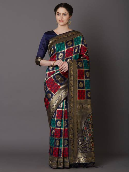 Blue Jacquard Woven Saree With Unstitched Blouse Material