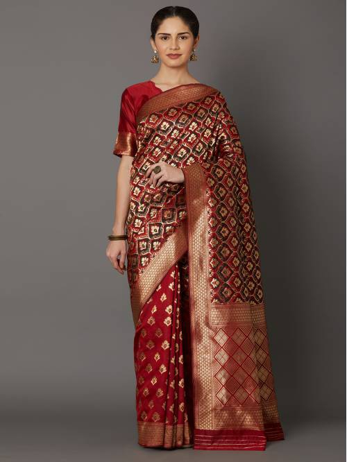 Red Jacquard Woven Saree With Unstitched Blouse Material